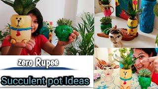 Zero Rupee (0 Rs) Succulent Pot Ideas For Home Decor ||Unique Clay Planter you Haven't seen before