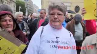 Pensioners protest Government cuts at Dail Eireann