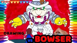 How to Draw Super Mario Odyssey, Mario vs Bowser #101 | Drawing Coloring Pages for Kids