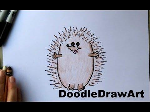 How To Draw a Hedgehog!  Cute Cartoon Art Drawing Tutorial for kids!  Easy n