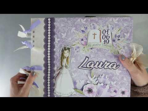 scrapbooking-conjunto-comunión-laura-(-letras,-album-de-fotos-y-firmas-y-lámina-de-huellas-)
