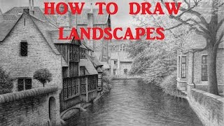How to Draw a Landscape With Buildings, Trees, and Water, Belgium canal scene
