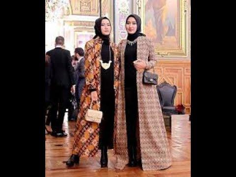 Gamis Batik Kombinasi Kain Polos Yang Sedang Tren Youtube