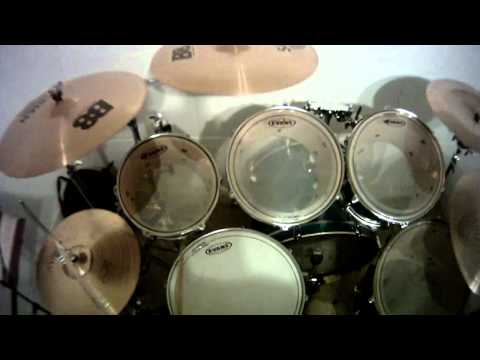 First person view of drummer.