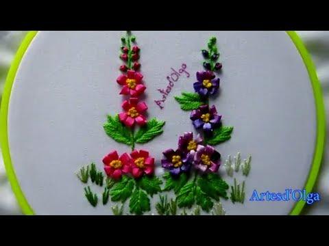 Hand Embroidery: Hollyhocks  Bordados a mano: Malvarrosa  ArtesdOlga
