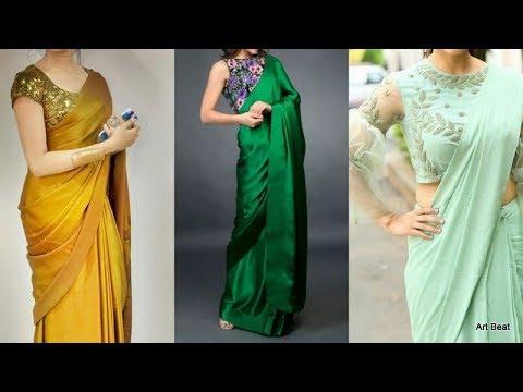 plain-saree-with-designer-blouses-  -contrast-blouse-designs-for-parties