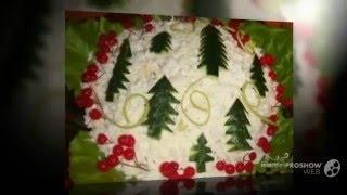 Новогодние салаты Как украсить салат  Украшения салатов