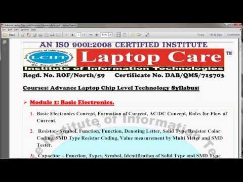 Advance Laptop Chiplevel Repairing Course Details Inquiry LCIIT Online Laptop Repair Training