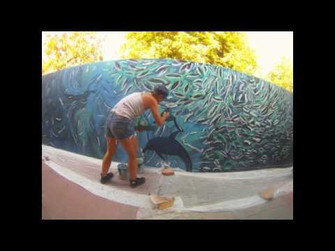 Ocean mural in La Paz 37 meters long