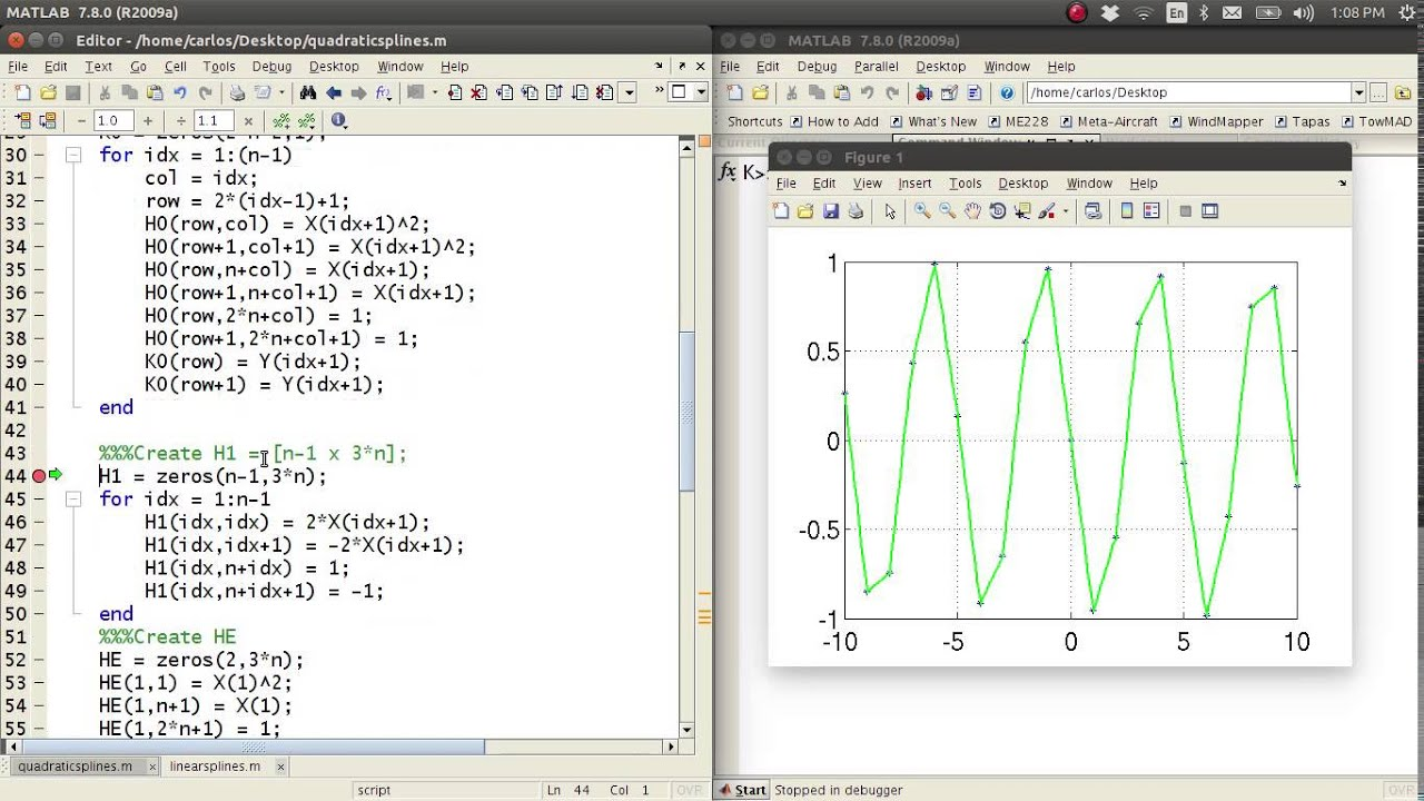 MATLAB Help - Quadratic Splines