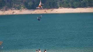 Biggest bicycle jump into a lake