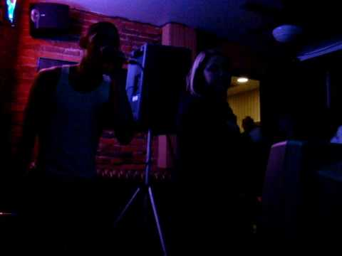 "bobby, the local karaoke hero, ""singin"" Love Shack"
