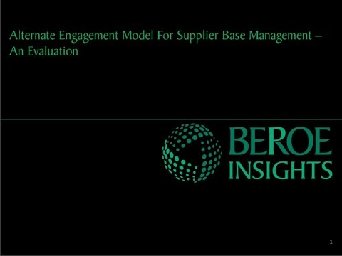 Alternate engagement model for supplier base management in pharma