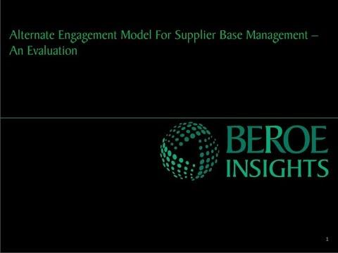Alternate engagement model for supplier base management in pharma