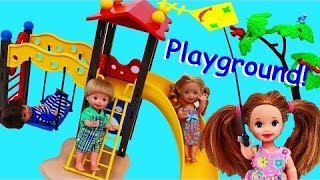 Barbie Kelly Dolls Play at Playmobil Park Frozen Kids Krista & Alex Slide & Swing by DisneyCarToys