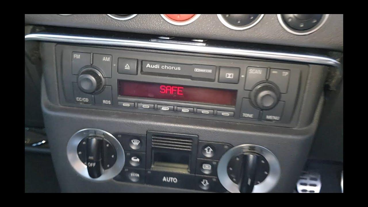 audi tt safe mode radio code fix mk1 [ 1280 x 720 Pixel ]