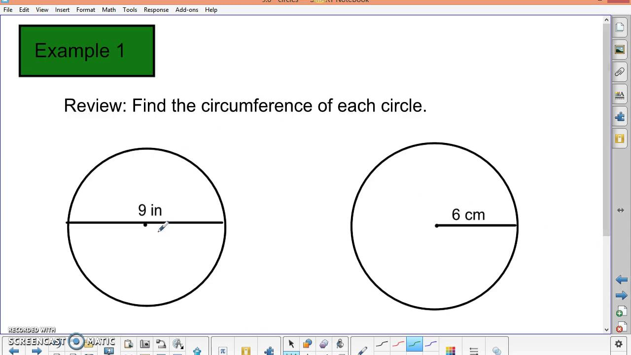 worksheet Circumference Of Circle 9 6 circles circumference and circle graphs youtube graphs