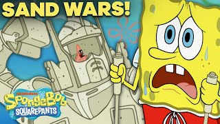 SpongeBob and Patrick Start a Sand Castle War! 🏰 Sand Castles in the Sand
