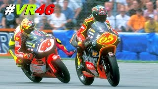 ROSSI KICKED a RIDER on 250cc (classic race video)