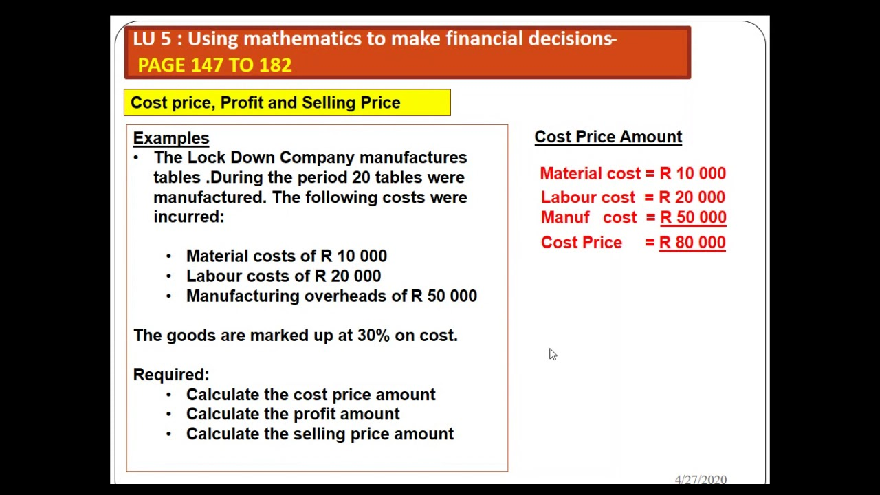 Business Calculations : Cost price, Mark-up, Selling price, Mark down,  Discounts