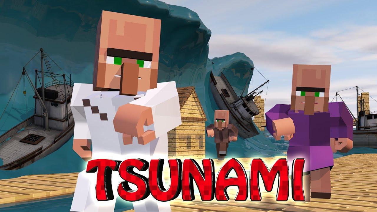 Minecraft Tsunami Natural Disaster Challenge Tsunami Destroys City Youtube