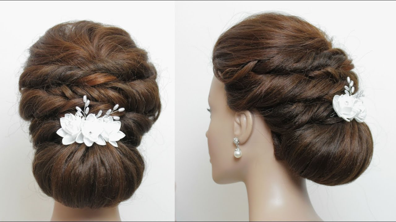 bridal hairstyle. low bun for long hair tutorial. wedding updo