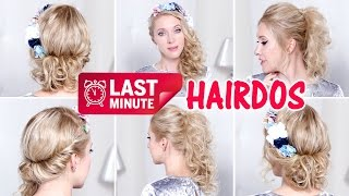 LAST MINUTE prom/party/wedding hairstyles for medium/long hair ★ Curls, low bun updo, ponytail