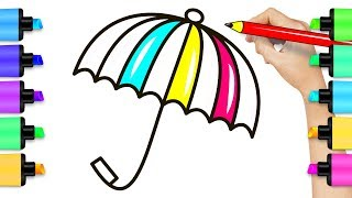 Rainbow Umbrella Coloring Page - How To Draw Umbrella Drawing for Children
