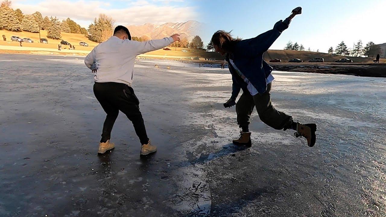 Breaking Through A Frozen Lake!!!