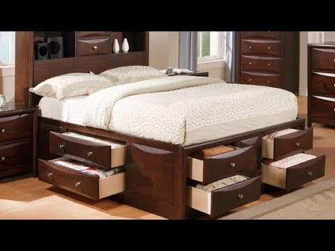 king size platform storage bed with drawers youtube. Black Bedroom Furniture Sets. Home Design Ideas