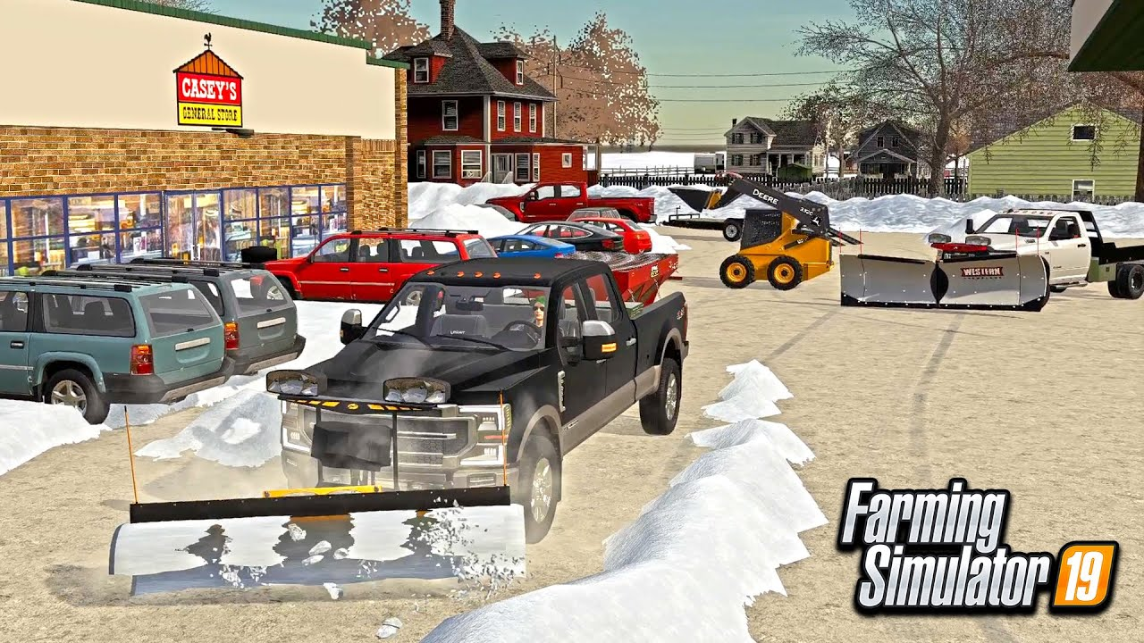SNOW PLOWING CASEY'S GAS STATION! (& BUYING NEW SKID STEER) | FARMING SIMULATOR 2019