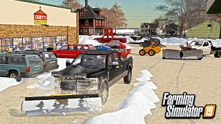 SNOW PLOWING CASEY'S GAS STATION! (& BUYING NEW SKID STEER)   FARMING SIMULATOR 2019