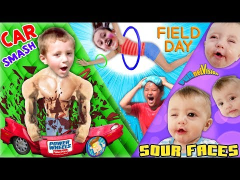 SOUR FACES 鈾�   Broken POWER WHEELS Car Field Day Games w  Family FVVlog