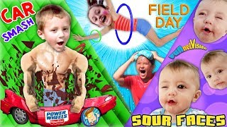 SOUR FACES    Broken POWER WHEELS Car Field Day Games w  Family FVVlog