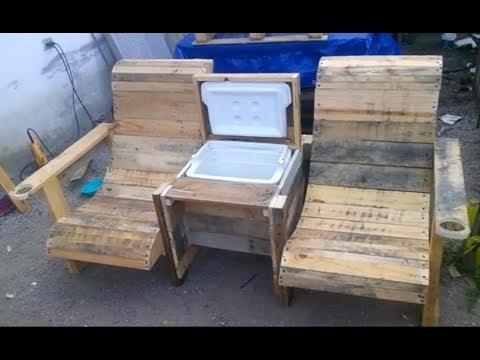 Como hacer banca hielera con palets tarimas pallets curva double chair with cooler youtube - Como hacer sillas con palets ...