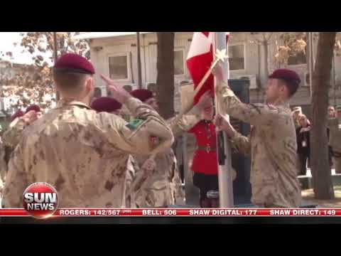 RAW: Canadian flag lowering ceremony in Kabul, Afghanistan