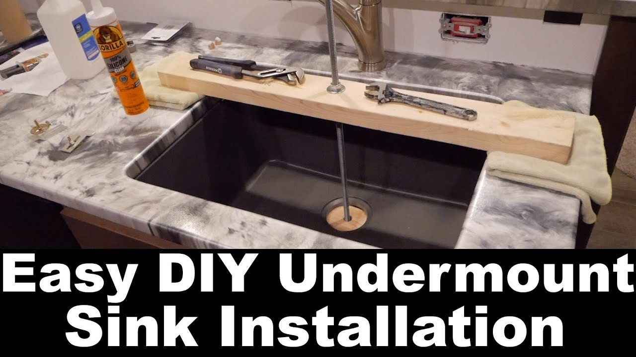 DIY Easy Undermount Sink Install - YouTube Undermount Kitchen Sink Cut And Install Youtube on install laundry sink, install kohler kitchen sink, double sink install a kitchen sink, install bathroom sink, granite composite kitchen sink, install farmhouse kitchen sink, install shower, install faucet kitchen sink, install kitchen sink sprayer, install kitchen backsplash,