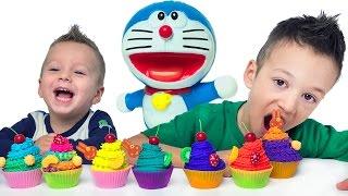 Play-Doh Капкейки а внутри Кот Дораэмон Открываем Сюрпризы Видео для Детей Развивающее Видео