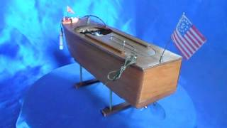 VINTAGE 1940's JAPANESE TOY WOOD MOTOR BOAT w/ FLASHING LIGHTS