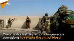 Kurdish Peshmerga and Iraqi Army Fight Daesh near Khazir