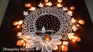 Diwali festival Diya rangoli kolam designs ll Deepavali muggulu 2018 by Dheepiika