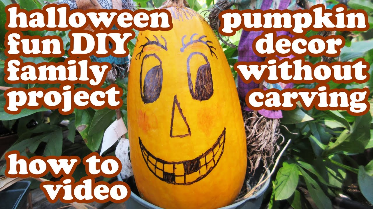 Halloween Pumpkin Designs No Carving Decorating Ideas   Easy Fun Templates  DIY Kids Crafting Crafts   YouTube