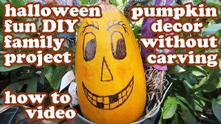 Halloween Pumpkin Designs No Carving Decorating Ideas - Easy Fun Templates Diy Kids Crafting Crafts