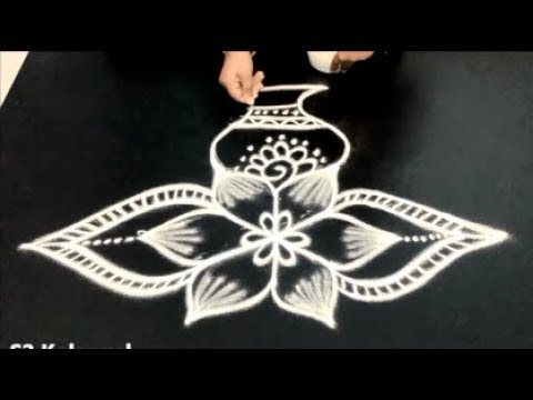 Pongal pot rangoli designs|| bhogi kundala muggulu || sankranthi muggulu || easy rangoli