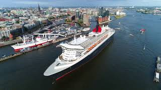 4K | The legendary Queen Mary 2 | Spectacular Harbour Tour Hamburg with Drone Shots