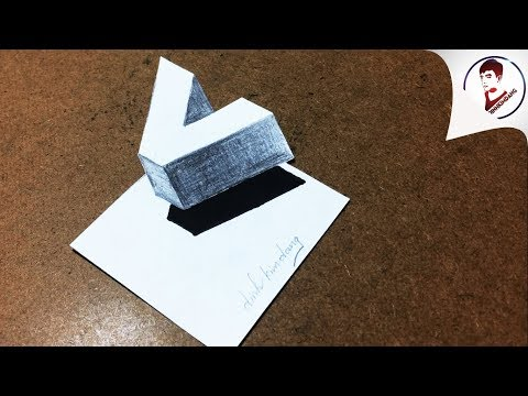 Vẽ 3D Siêu Dễ ! Vẽ chữ V 3D BAY TRÊN MẶT GIẤY