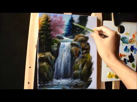 How to Paint Waterfall With Acrylics Lesson 2 ( PART 2)