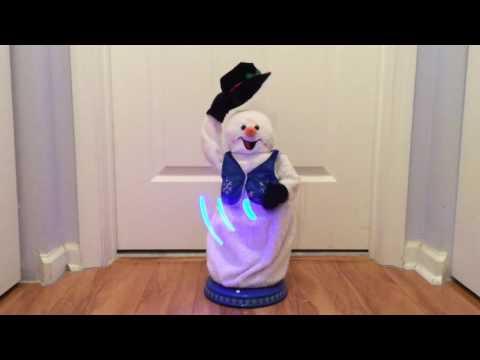(Gemmy) Spinning Snowflake Snowman - Blue Snowflake Vest - Snowmiser (Rare?)
