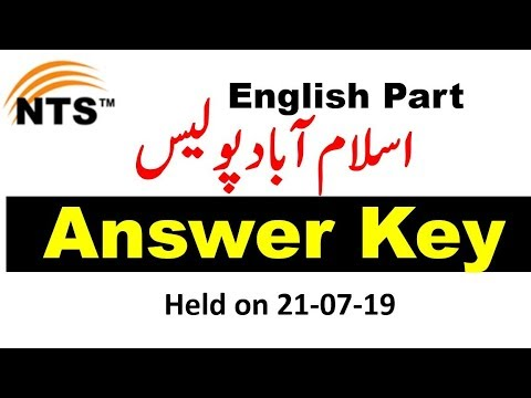 NTS English Past Papers    Islamabad Police Constable ENGLISH Part Paper  21/07/19