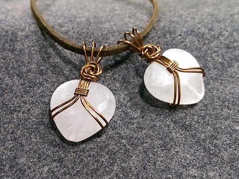 pendant wire wrapped heart-shaped stone with no holes